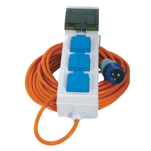 Crusader Mains Supply Unit with 3 Sockets 20m Cable  - Click to view a larger image