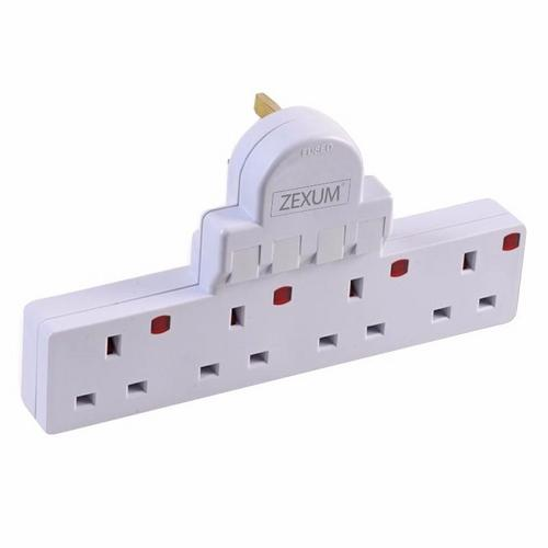 Zexum 4G 13A Individually Switched Surge Protection Socket Extension  - Click to view a larger image
