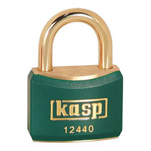 Compare prices for Kasp 40mm Brass Padlock with Green Plastic Coating