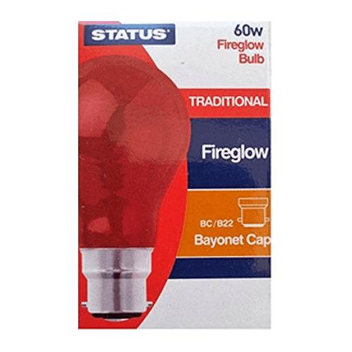 Status 60W Bayonet Cap Fireglow GLS Bulb  - Click to view a larger image
