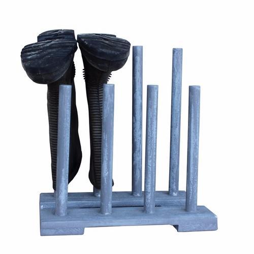 Hadley Reclaimed Wooden Boot & Wellie Floor Rack - Goose Grey Hadley Home  Garden Reclaimed Wooden Boot  Wellie Rack 4 Pair Goose Grey - Click to view a larger image