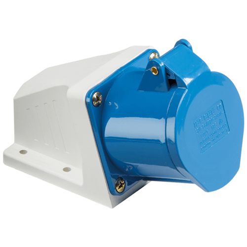 KnightsBridge 16A 240V IP44 Angled Surface Mount Socket 2 P+E  - Click to view a larger image