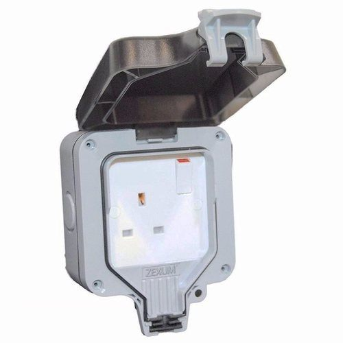 Zexum 13 Amp Weatherproof Switched Socket 1 Gang  - Click to view a larger image