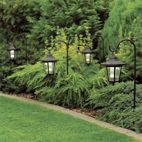 GardenKraft Set of 2 Solar Powered Shepherds Lantern Ground Spike  - Click to view a larger image