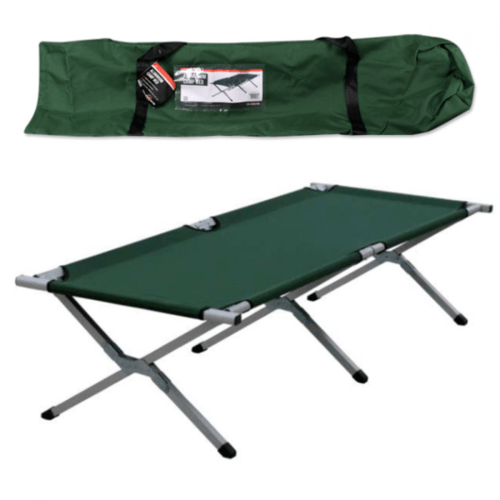 Milestone Green Folding Single Aluminum Camp Bed  - Click to view a larger image