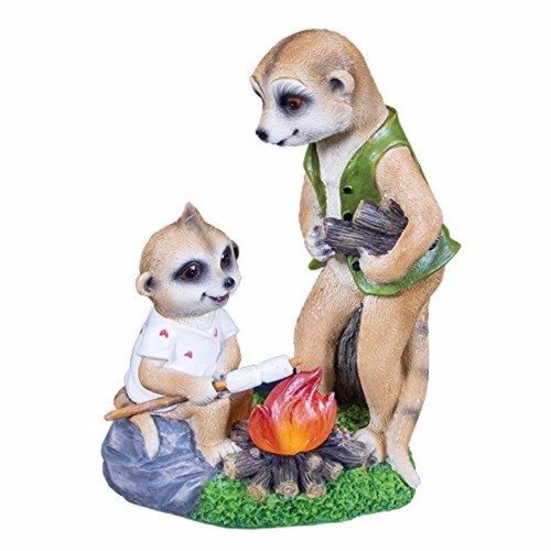 GardenKraft Campfire Meerkats Papa & Baby Ollie With Solar Garden Light GardenKraft Campfire Meerkats With Solar Light - Click to view a larger image