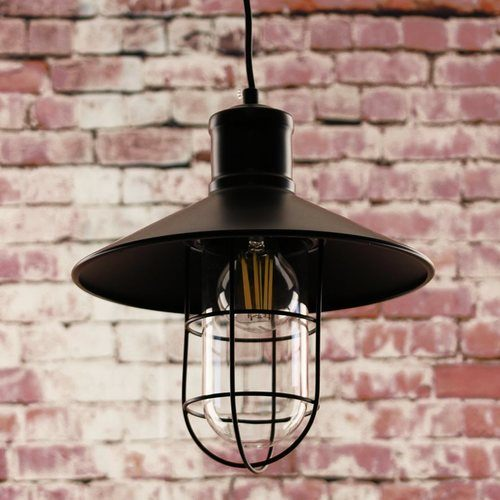 Greenhall Lighting Calgary Wire Guarded Traditional Rustic Iron Ceiling Light  - Click to view a larger image