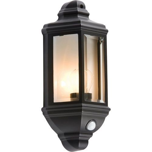 KnightsBridge Die-Cast Aluminium Clear Glass Wall Lantern with PIR 1