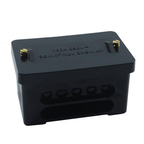 KnightsBridge 2 x 5 Way DP 100A Service Connector Block - Black KnightsBridge EB2 - 2 x 5 Way DP 100A Service Connector Block - Black - Click to view a larger image