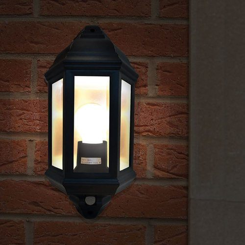 Eterna Black Half Lantern with 120 PIR Eterna Black Half Lantern with 120 PIR - Fitted - Click to view a larger image