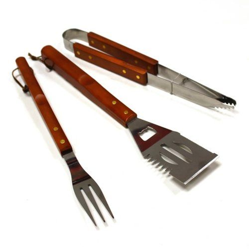 Kingfisher 3 Piece Wooden BBQ Tool Set Kingfisher 3 Piece Wooden BBQ Tool Set - Click to view a larger image