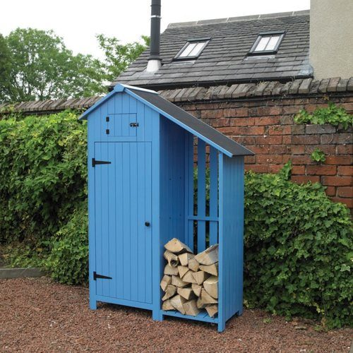 Kingfisher Blue Wooden Garden Shed with Log Store Kingfisher Blue Wooden Garden Shed with Log Store - Click to view a larger image