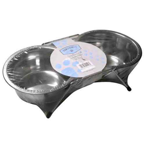 Paw Prints Stainless Steel Double Diner Non Slip Bowl Paw Prints Stainless Steel Double Diner Non Slip Bowl - Click to view a larger image