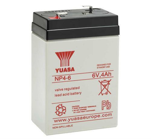 Yuasa 6V 4Ah Sealed Lead Acid Battery Yuasa NP4-6 6V 4Ah Sealed Lead Acid Battery - Click to view a larger image