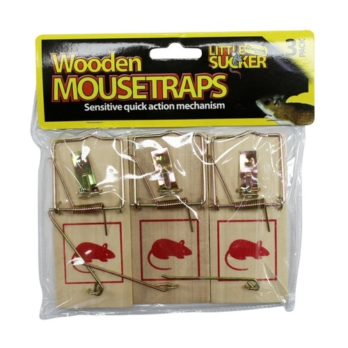 Kingfisher Traditional Wooden Mouse Traps (3 Pack) Kingfisher Traditional Wooden Mouse Traps 3 Pack - Click to view a larger image