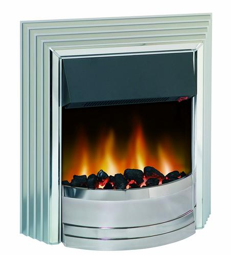 Dimplex Castillo Optiflame Electric Fire in Satin Silver Dimplex Castillo Optiflame Electric Fire in Satin Silver - Click to view a larger image