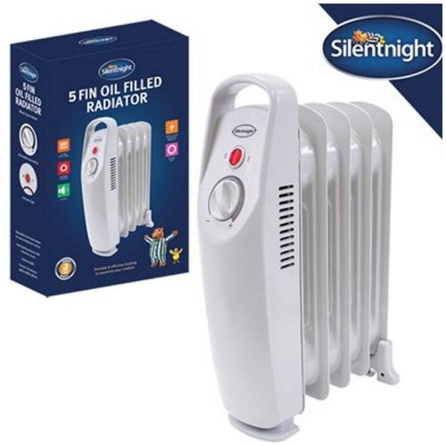 Silent Night 5 Fin Mini Oil Filled Radiator Silent Night 5 Fin Mini Oil Filled Radiator - Click to view a larger image