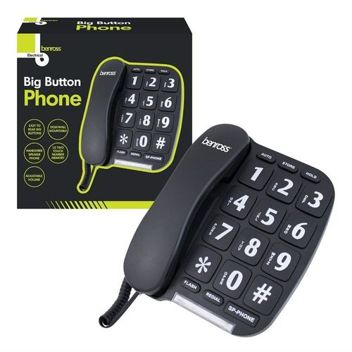 Benross Jumbo Big Button Home Telephone - Black