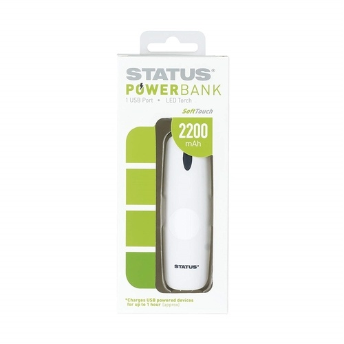 Status 2200mAh Powerbank with 1 USB Port - White Status 2200mAh Powerbank with 1 USB Port - White - Click to view a larger image