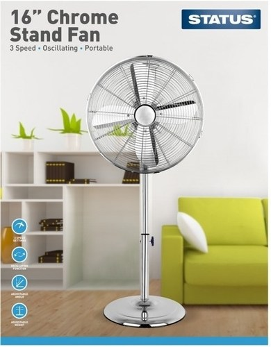 "Status 16"" Chrome Pedestal Stand Fan   - Click to view a larger image"