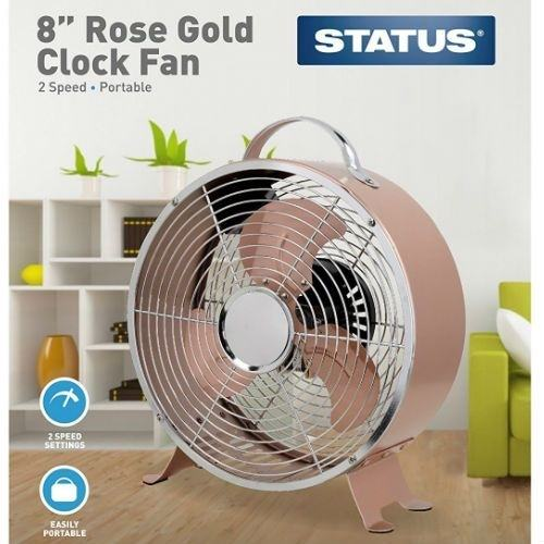 Status Portable Rose Gold 8-Inch Clock Fan  - Click to view a larger image