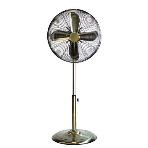 "Status 16"" Antique Brass Stand Fan  - Click to view a larger image"