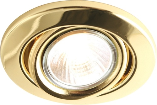 KnightsBridge GU10 50W Recessed Tilt Downlight Brass - Click to view a larger image