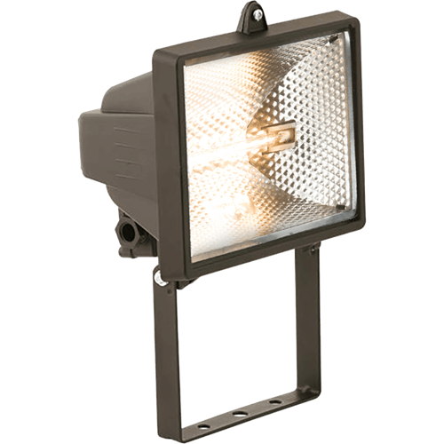 KnightsBridge IP54 500W Enclosed Halogen Floodlight Black  - Click to view a larger image