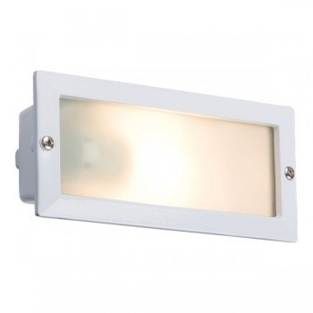KnightsBridge Aluminium Brick Light With Cover - White   - Click to view a larger image