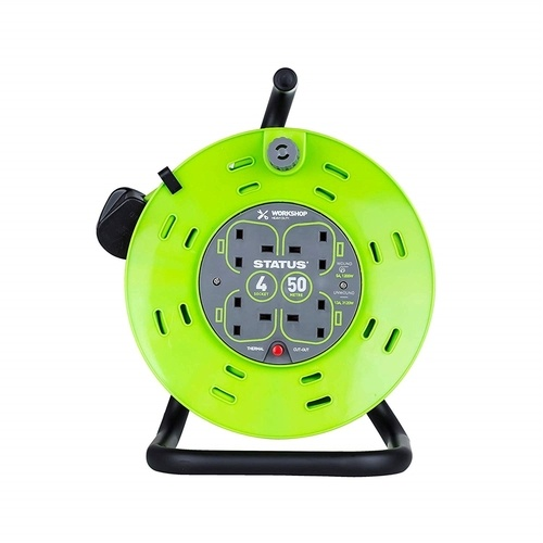 Status 50m 4G Extension Reel on Metal Drum - GREEN  - Click to view a larger image