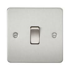 KnightsBridge 1G Intermediate Flat Plate Switch- Brushed Chrome   - Click to view a larger image
