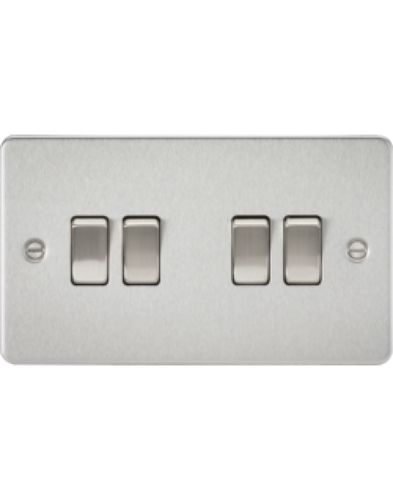 KnightsBridge 4G 2 Way Flat Plate Switch - Brushed Chrome   - Click to view a larger image