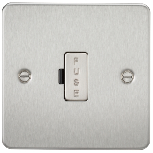 KnightsBridge 13A Fused Spur Unit Flat Plate - Brushed Chrome 1