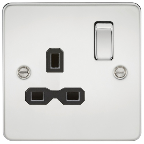 KnightsBridge 1G DP Switched Socket Flat Plate- Polished Chrome w/ Black Insert   - Click to view a larger image