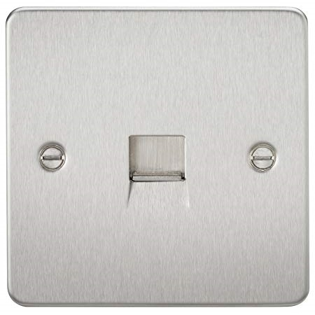 KnightsBridge Telephone Extension Socket Flat Plate- Brushed Chrome   - Click to view a larger image