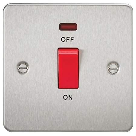 KnightsBridge 45A 1G DP Switch with Neon Flat Plate - Brushed Chrome   - Click to view a larger image