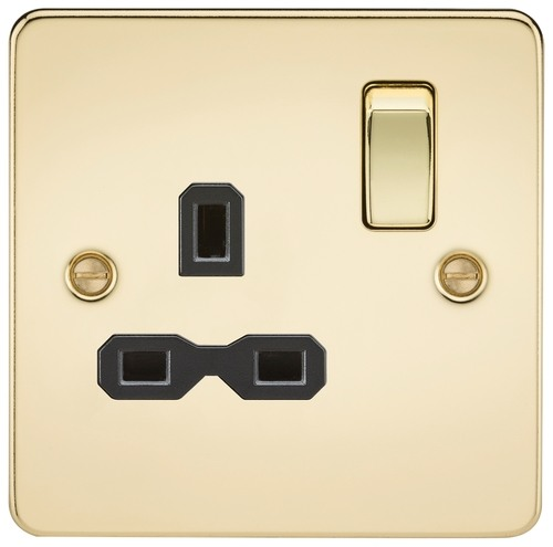 KnightsBridge 1G DP Switched Socket Flat Plate - Polished Brass, Black Insert  - Click to view a larger image