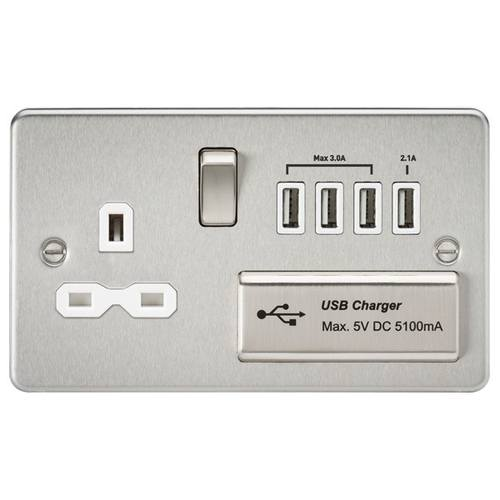 KnightsBridge Socket with Quad USB Flat Plate - Brushed Chrome, White Insert  - Click to view a larger image