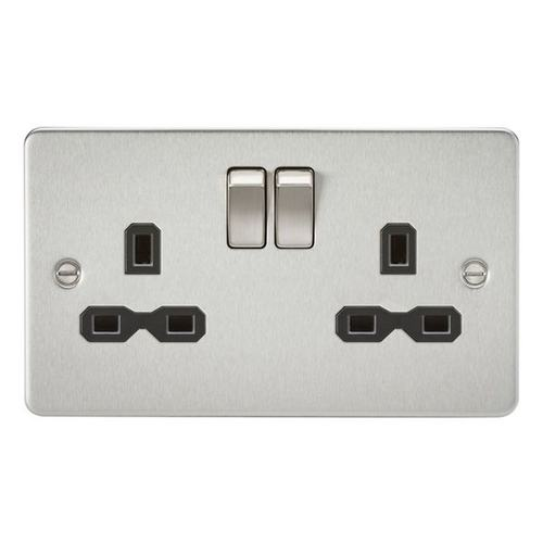 KnightsBridge 13A 2G DP Switched Flat Plate Socket - Brushed Chrome  - Click to view a larger image