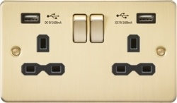 KnightsBridge 13A 2G Switched Socket with Dual USB Flat Plate - Brushed Brass, Black Insert  - Click to view a larger image