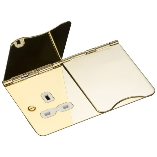 KnightsBridge 2G Unswitched Flat Plate Floor Socket - Polished Brass, White Insert 1