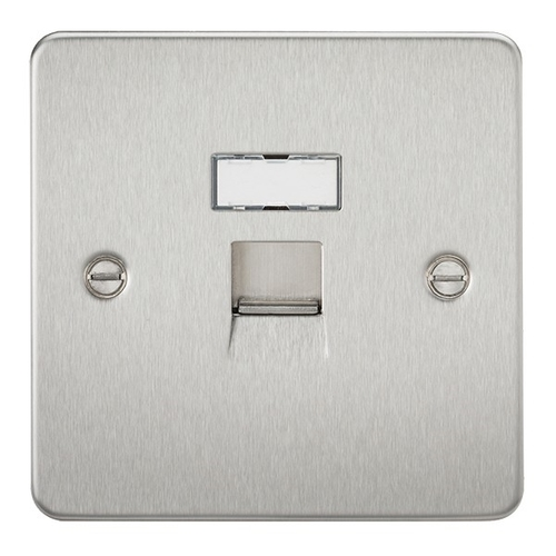 KnightsBridge RJ45 Network Outlet Flat Plate - Brushed Chrome   - Click to view a larger image