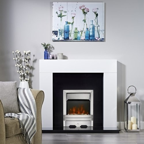 Focal Point Lulworth LED Electric Fire - Brushed Metal Effect  - Click to view a larger image