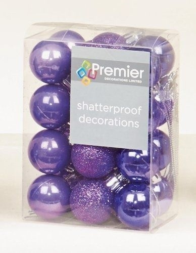 Image of Premier Decorations 24 x 30mm Purple Christmas Tree Balls