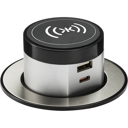 KnightsBridge Wireless Desktop Charger with Pop-Up Dual USB Charger  - Click to view a larger image