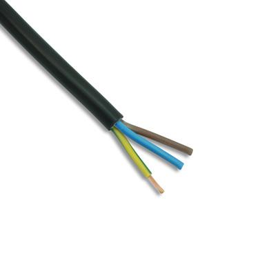 Zexum 0.75mm 3 Core PVC Flex Cable Black Round 2183Y 0.75 3 Core 2183Y Light Duty Black Flexible Cable - 100m Roll - Click to view a larger image