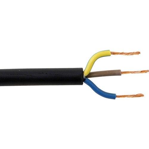Zexum 1.5mm 3 Core Rubber Flex Cable Black Round 3183TRS  - Click to view a larger image
