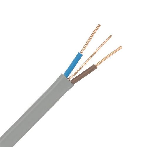 Zexum Grey 1mm 14A Brown Blue Twin & Earth (T&E) 6242Y Flat PVC Harmonised Lighting Power Cable  - Click to view a larger image