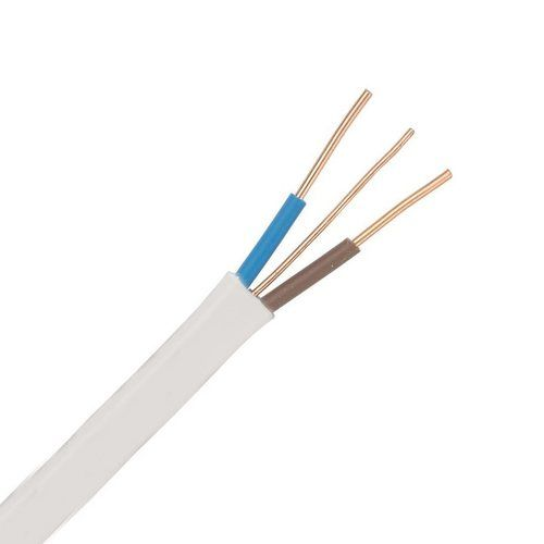Zexum White 10mm 55A Brown Blue Twin & Earth (T&E) 6242B Flat LSZH (Low Smoke Zero Halogen) PVC Harmonised Lighting Power Cable  - Click to view a larger image