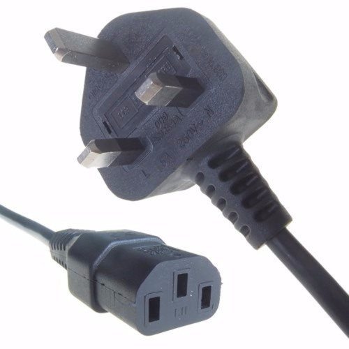 Connekt Gear Black 5A UK Mains Plug Top to IEC Female C13 Kettle TV Power Cord Cable  - Click to view a larger image